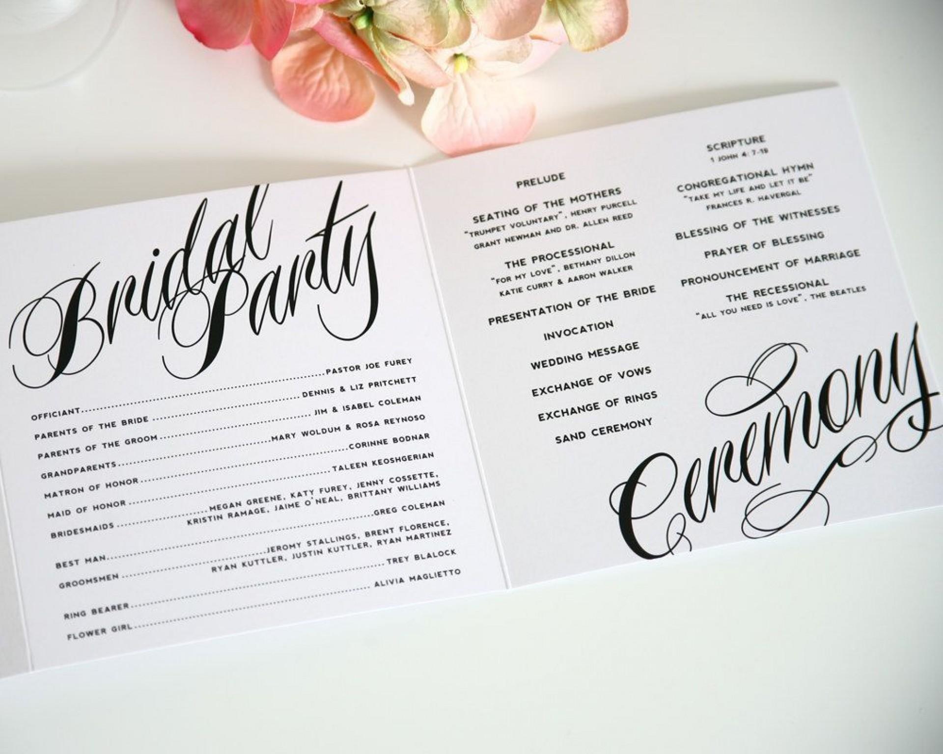 004 Singular Trifold Wedding Program Template Picture  Tri Fold Word Folded Example1920