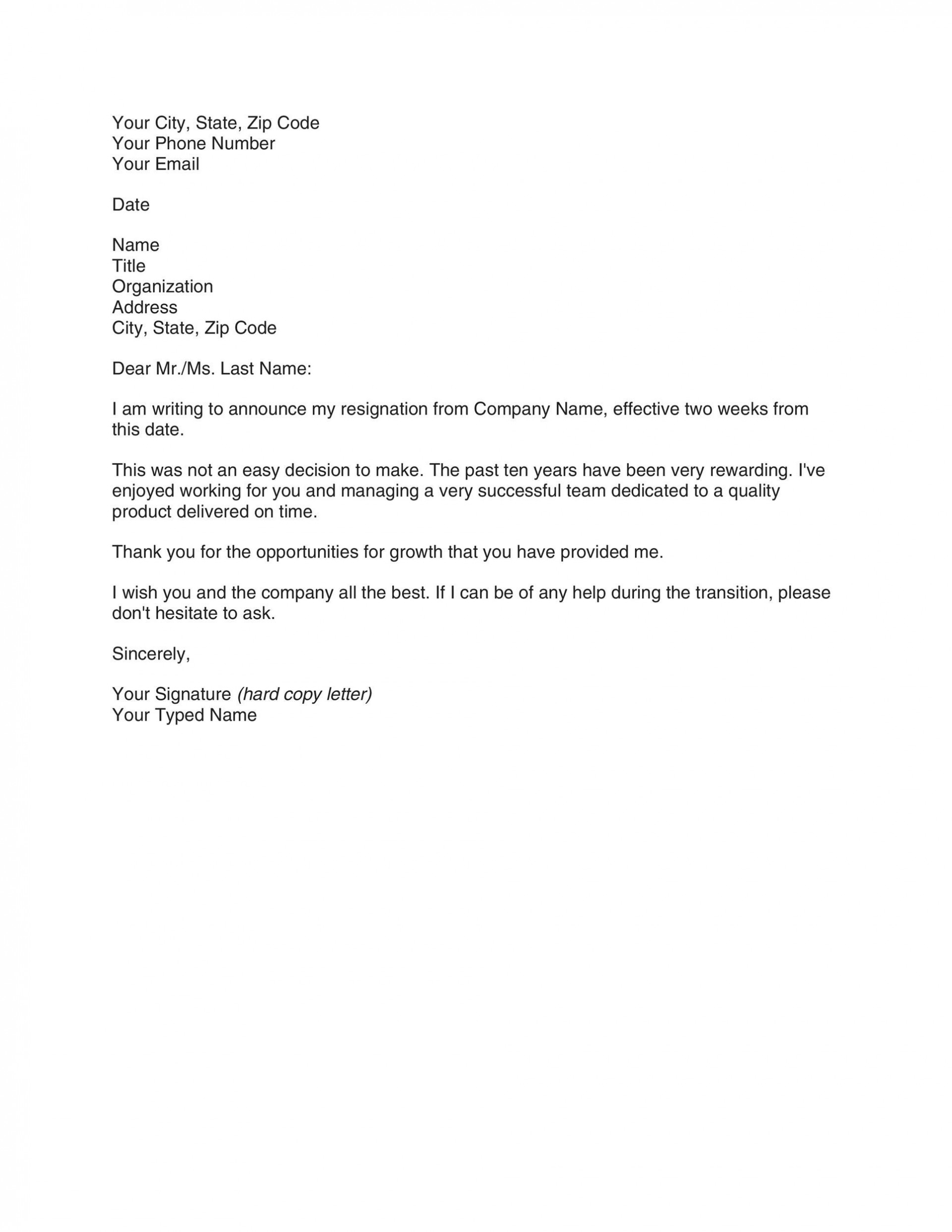 004 Singular Two Week Notice Letter Template Sample  Free Professional 21920