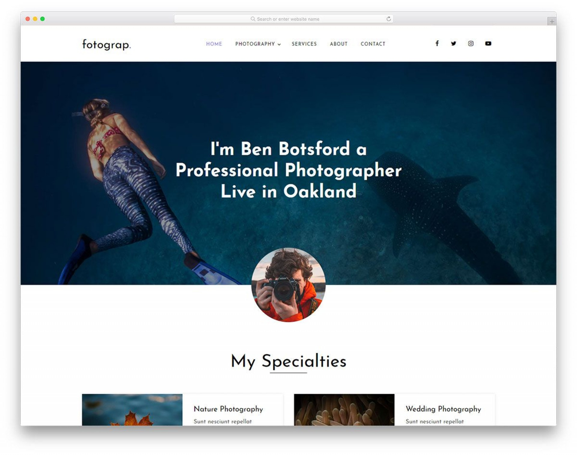 004 Singular Web Template For Photographer High Definition  Photographers Photography Free1920