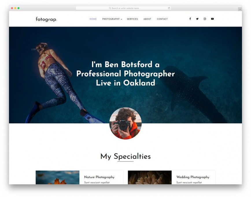 004 Singular Web Template For Photographer High Definition  Photographers Photography Free