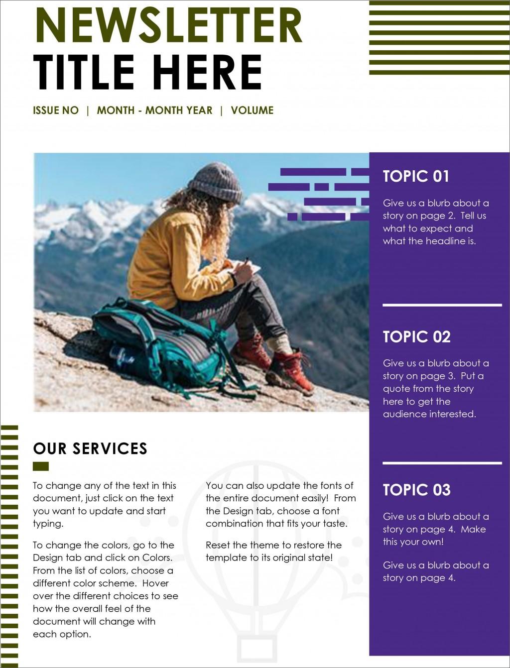 004 Singular Word Newsletter Template Free Download Highest Quality  Document M 2007 DesignLarge
