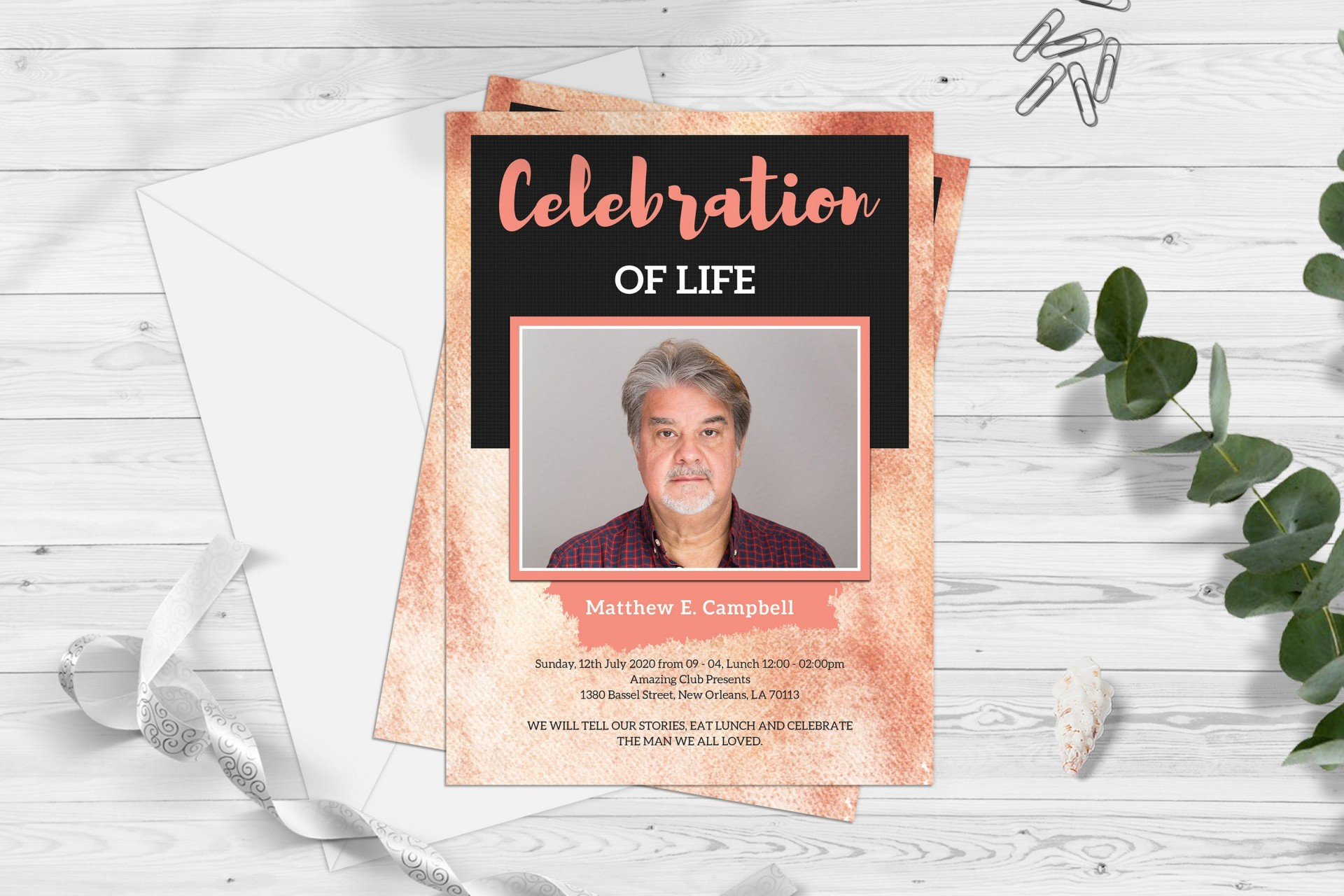 004 Staggering Celebration Of Life Template Image  Powerpoint Program Download Announcement Free1920