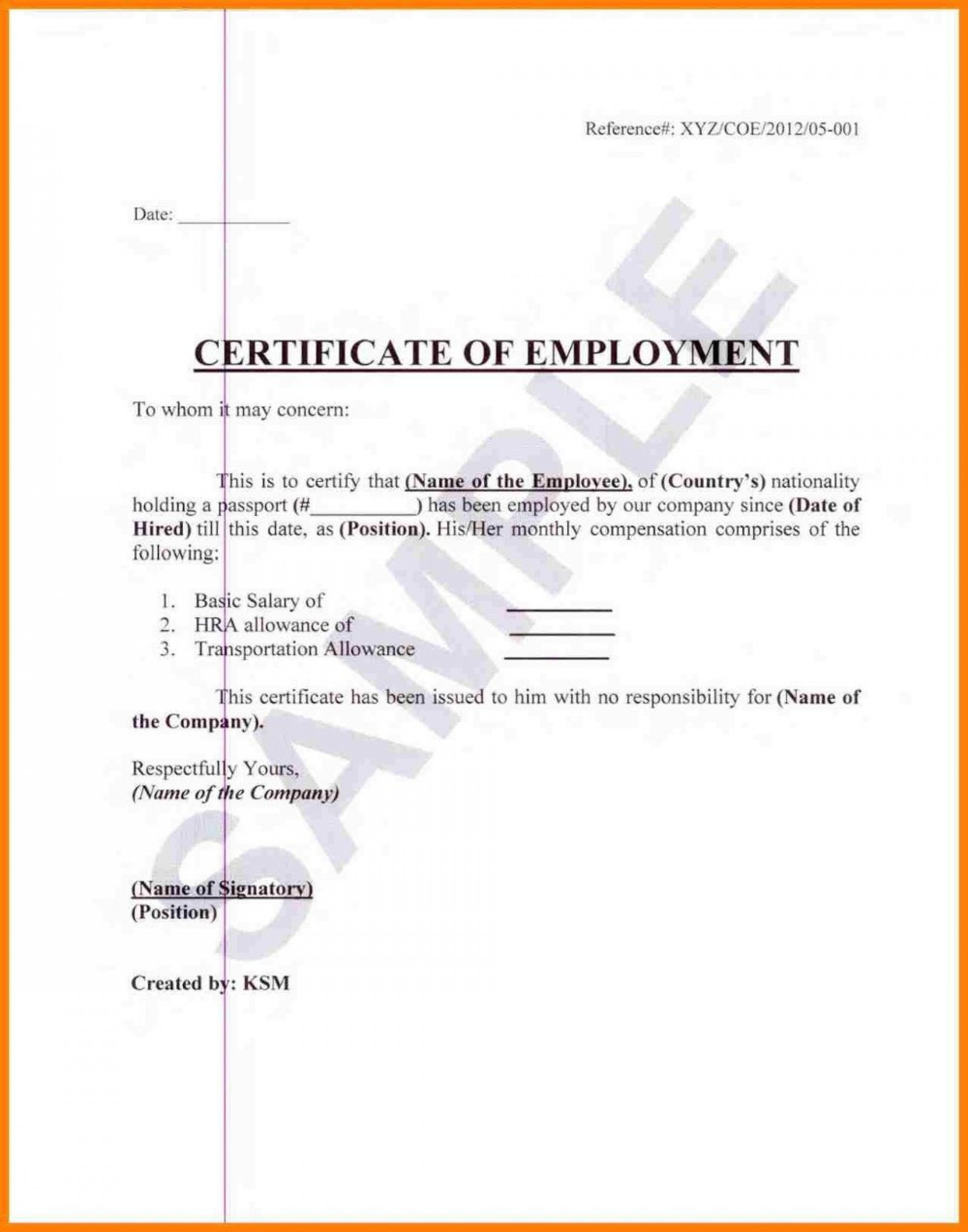 004 Staggering Certificate Of Employment Template High Def  Nz Sample Word Format Free1920
