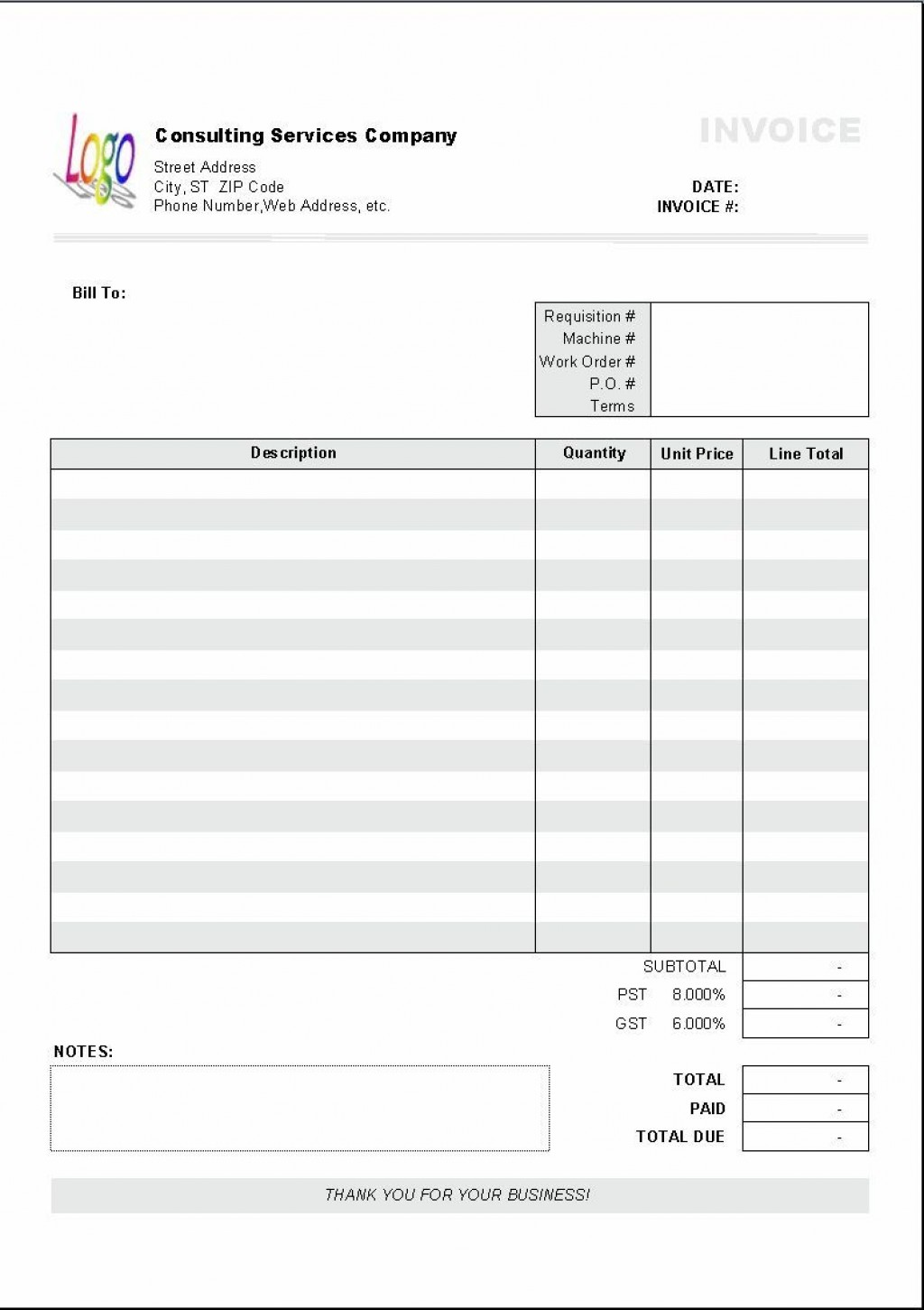 004 Staggering Free Blank Invoice Template Excel Concept  Download DownloadableLarge