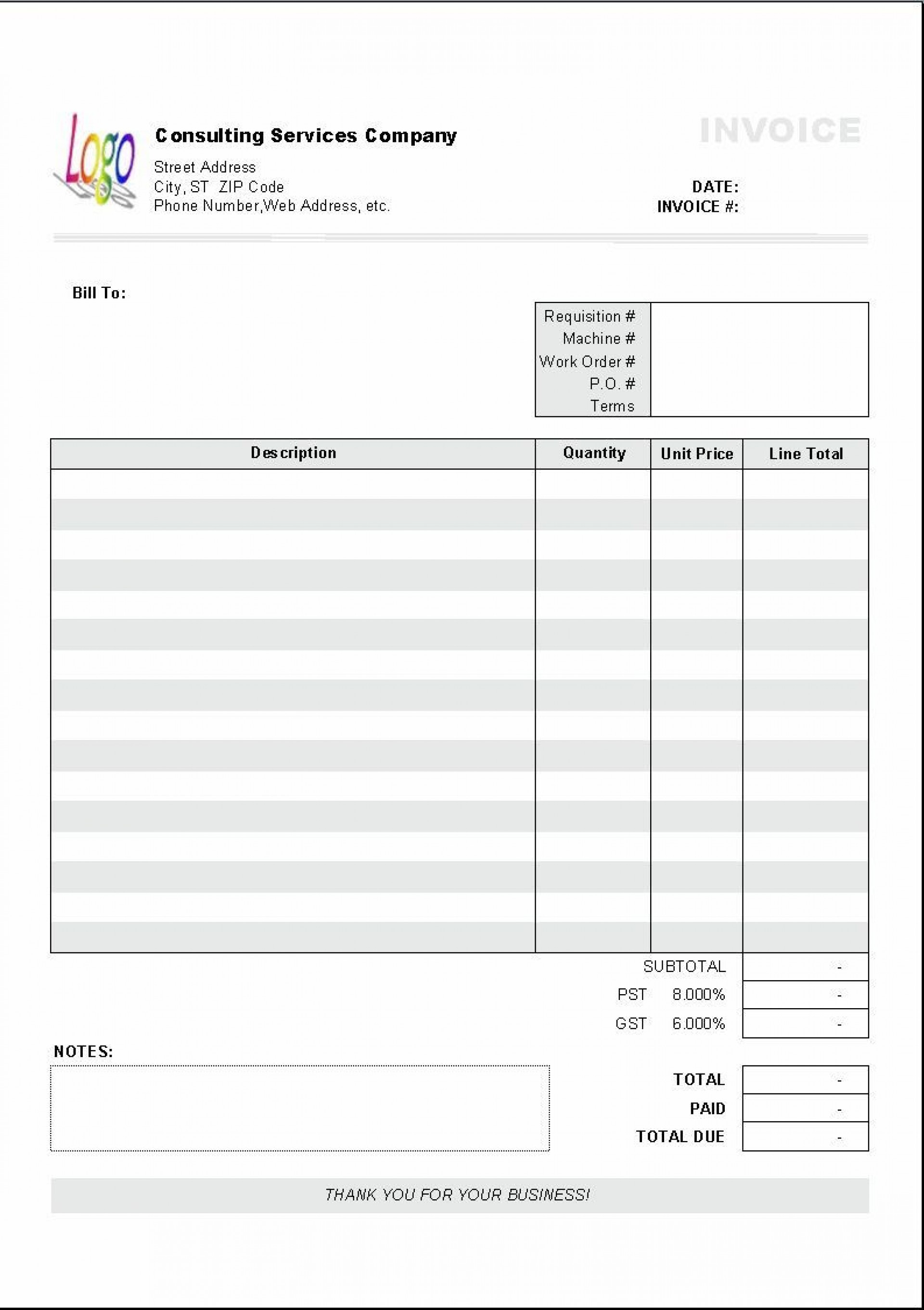 004 Staggering Free Blank Invoice Template Excel Concept  Download Downloadable1920