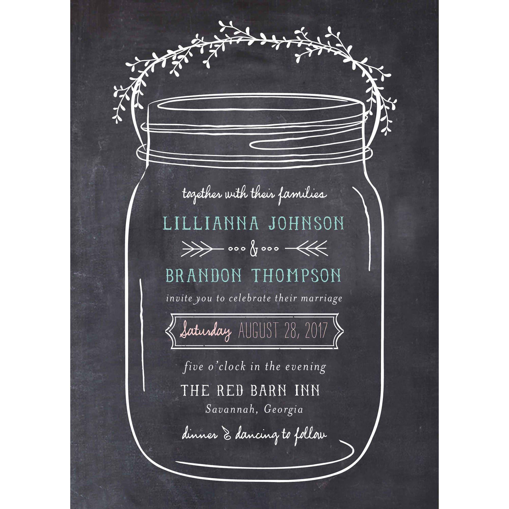 004 Staggering Mason Jar Invitation Template Image  Free Wedding Shower RusticFull