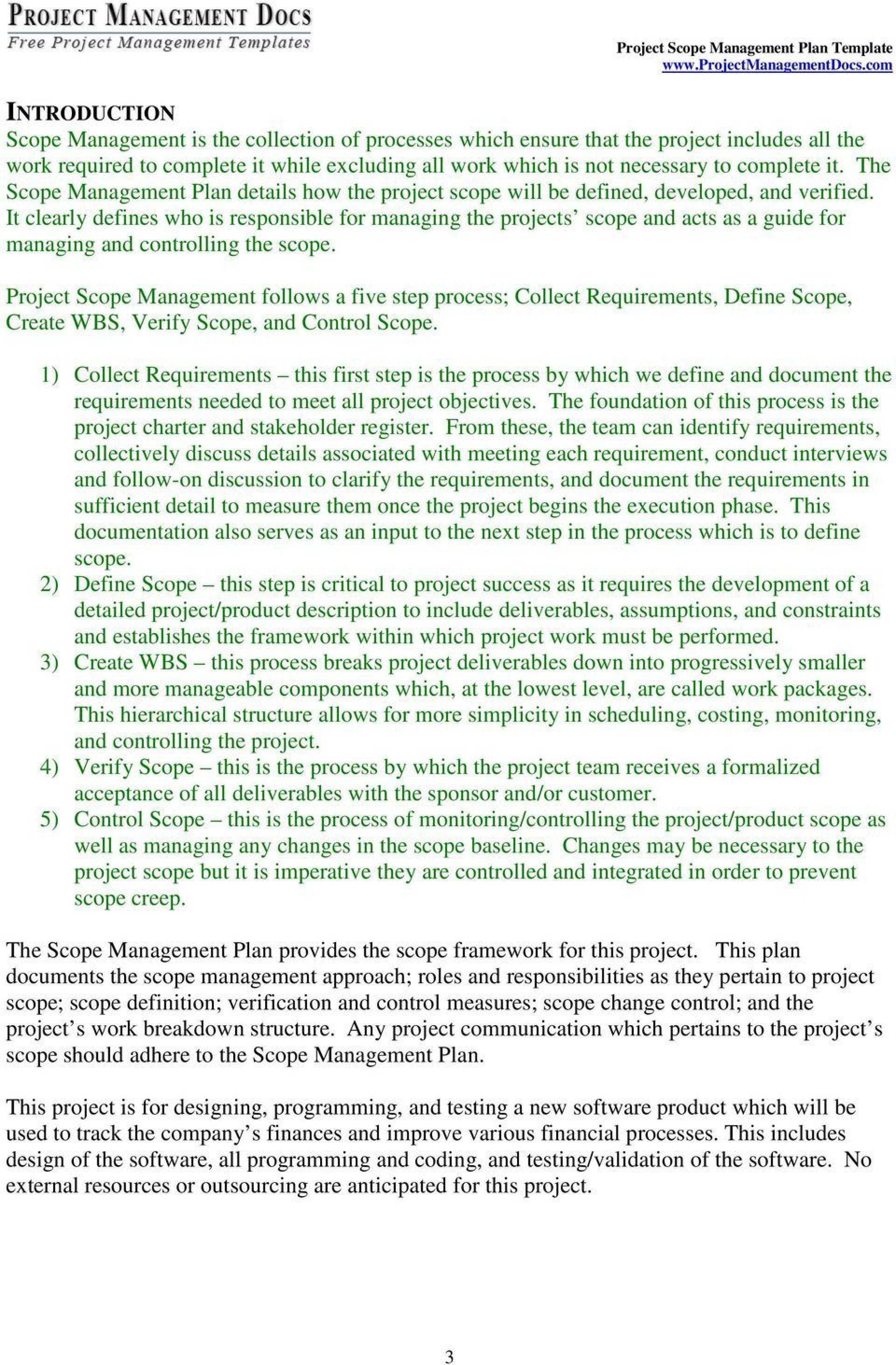 004 Staggering Project Scope Management Plan Template Free Sample 1920