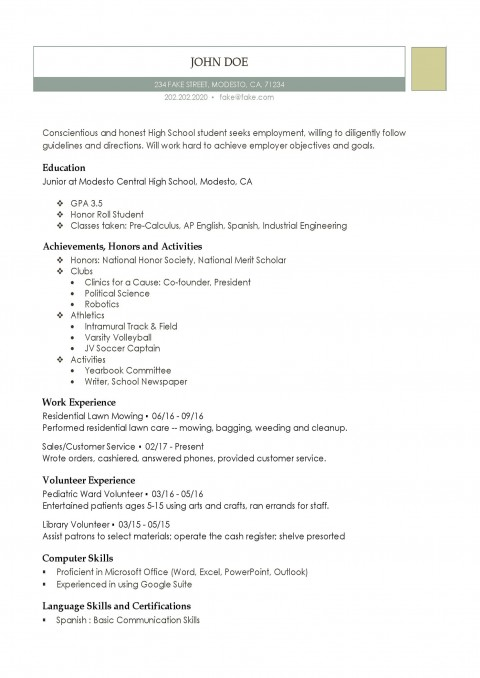 004 Staggering Resume Template High School Student Example  Sample First Job480