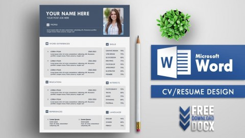 004 Staggering Resume Template Word Free Sample  Download 2020 Doc480