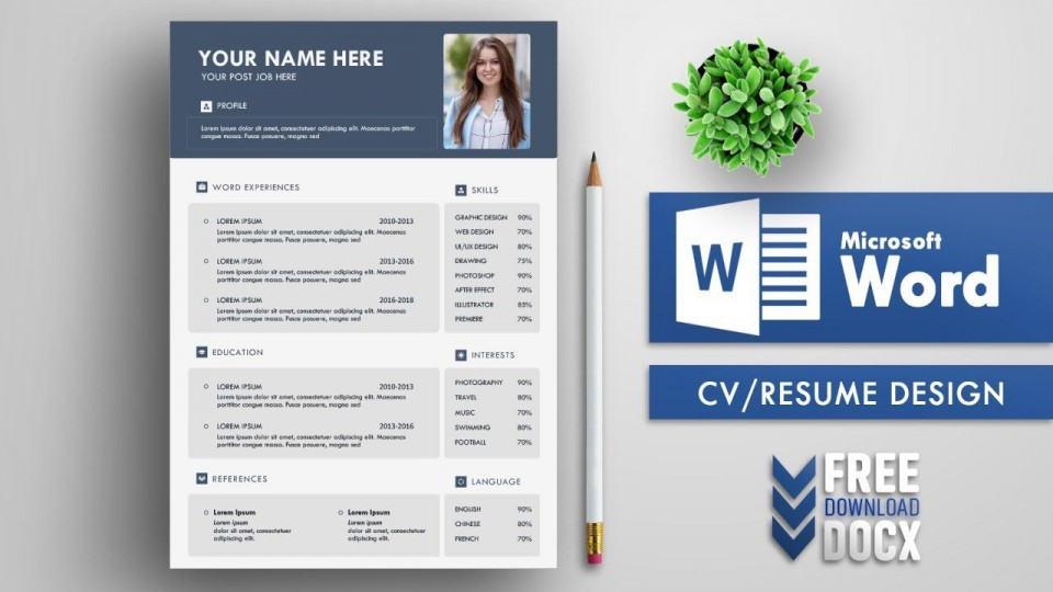 004 Staggering Resume Template Word Free Sample  Download 2020 Doc960
