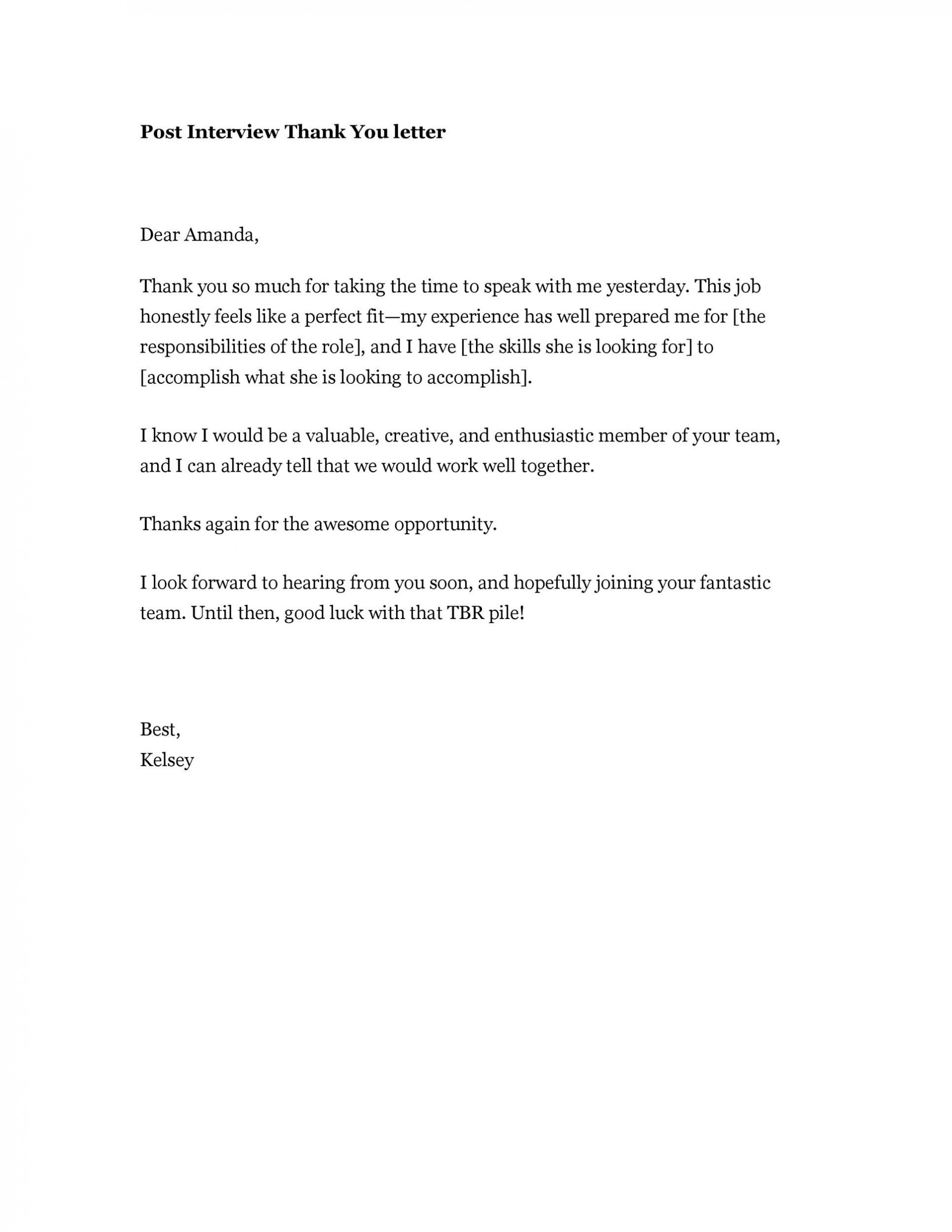 004 Staggering Thank You Note Template After Phone Interview Idea  Sample Letter Example1920