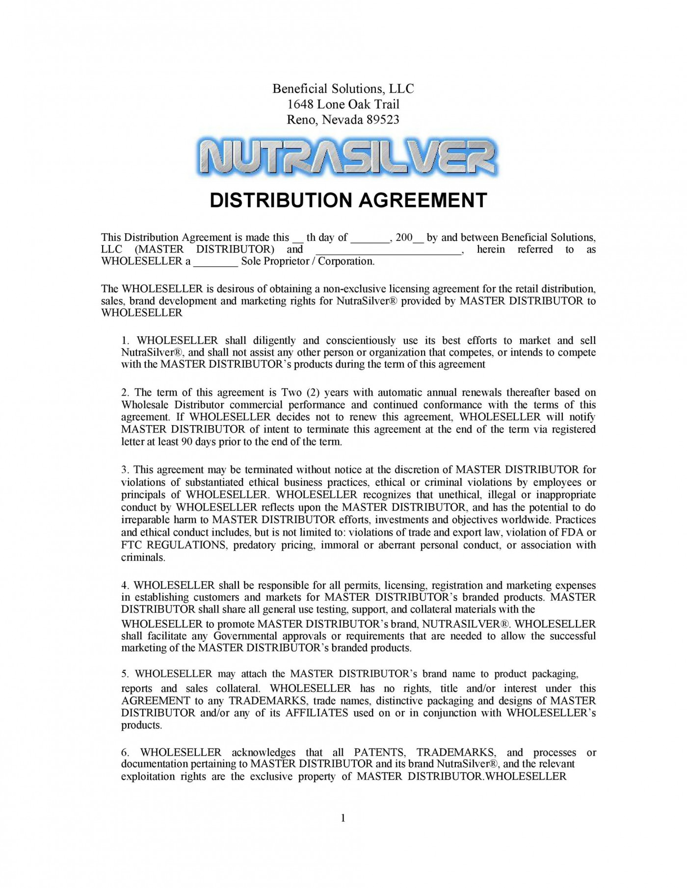 004 Stirring Exclusive Distribution Contract Template Concept  Agreement Australia Uk Non Free1400
