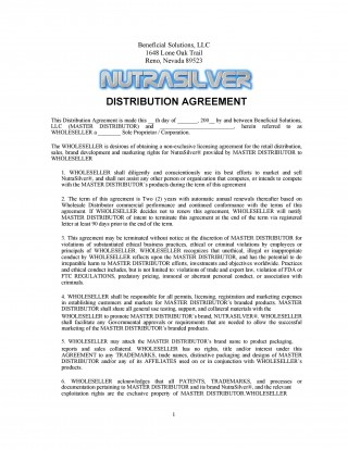 004 Stirring Exclusive Distribution Contract Template Concept  Agreement Australia Uk Non Free320