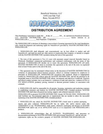004 Stirring Exclusive Distribution Contract Template Concept  Agreement Australia Uk Non Free360