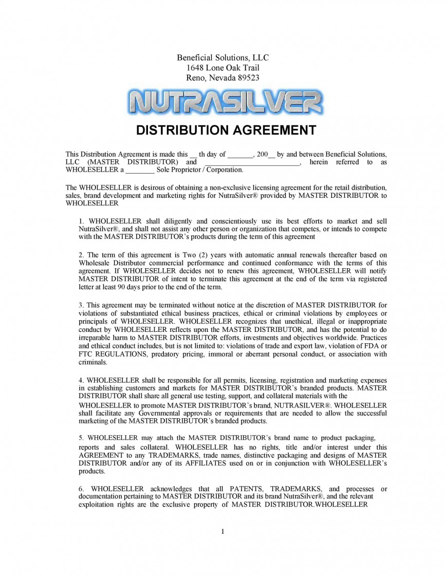 004 Stirring Exclusive Distribution Contract Template Concept  Agreement Australia Uk Non Free868