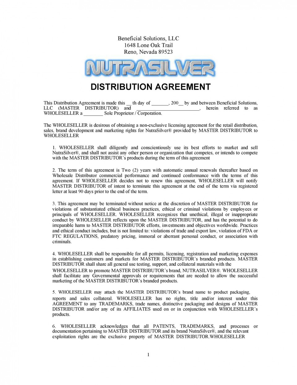 004 Stirring Exclusive Distribution Contract Template Concept  Agreement Australia Uk Non Free960