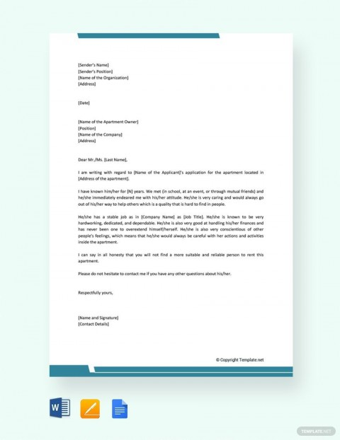 004 Stirring Free Reference Letter Template Word Image  Personal For Employment480