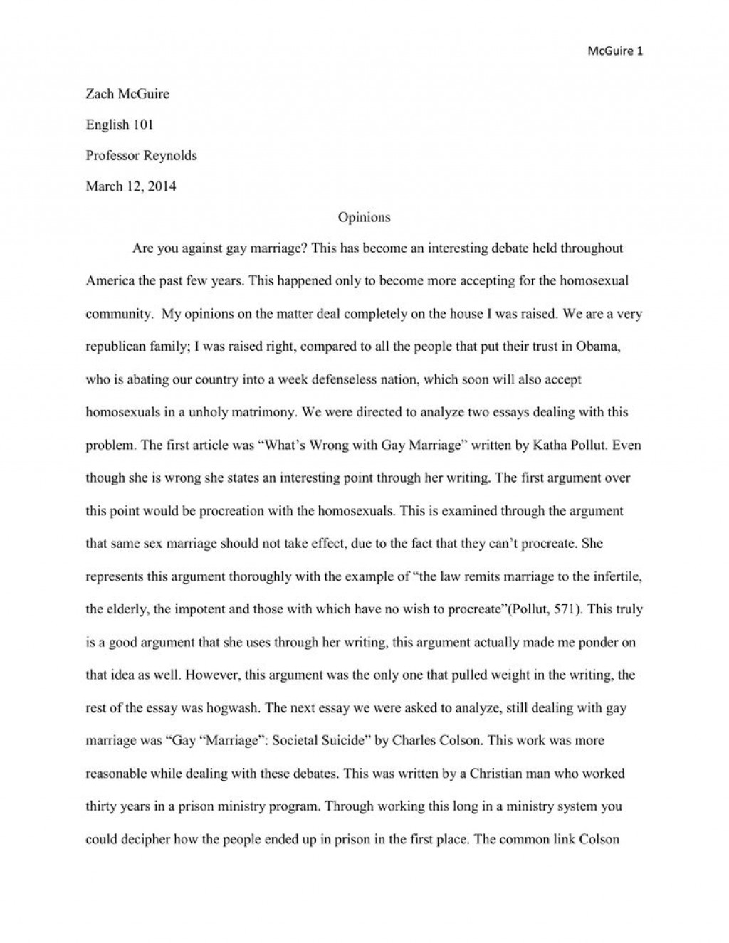 004 Stirring Gay Marriage Essay Photo  Example Clever Title ForLarge