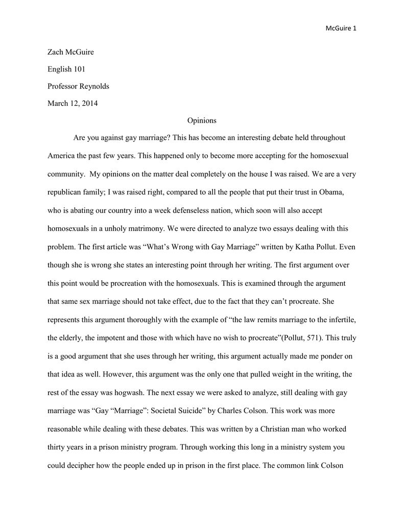 004 Stirring Gay Marriage Essay Photo  Example Clever Title ForFull
