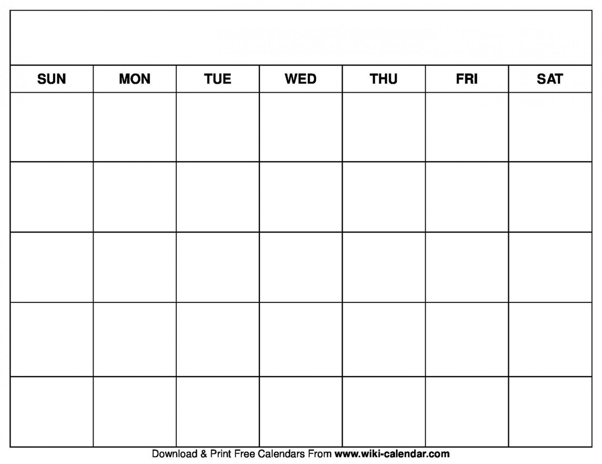 004 Stirring Printable Blank Monthly Calendar Template Sample  Pdf1920