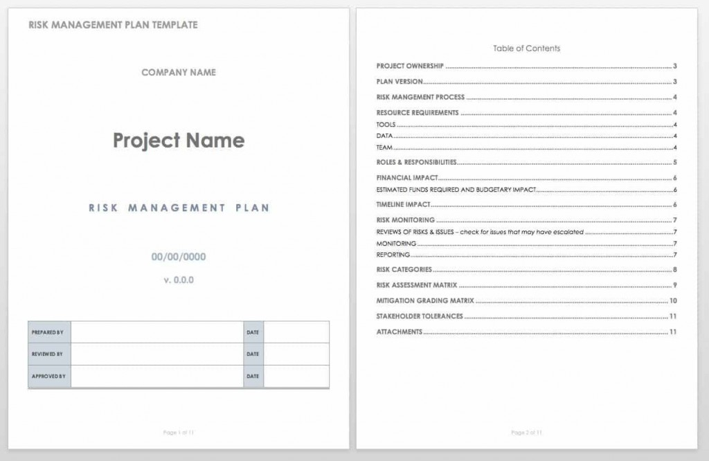 004 Stirring Project Risk Management Plan Template Word Highest Quality Large
