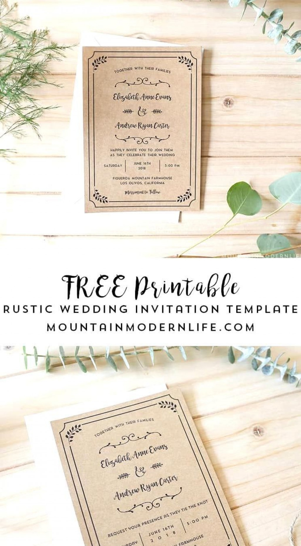 004 Stirring Rustic Wedding Invitation Template Photo  Templates Free For Word Maker PhotoshopLarge