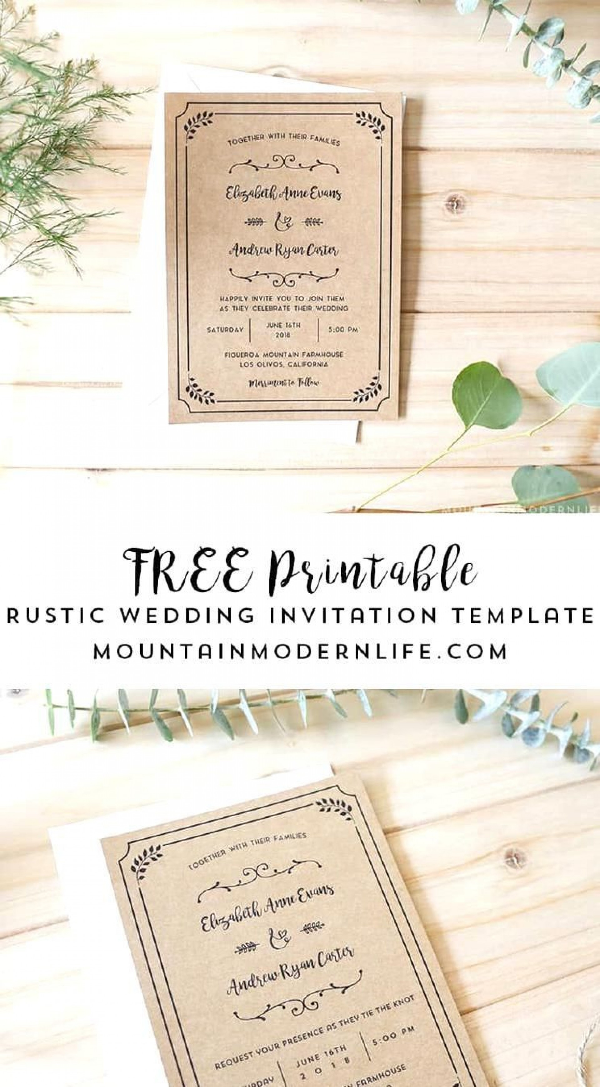 004 Stirring Rustic Wedding Invitation Template Photo  Templates Free For Word Maker Photoshop1920