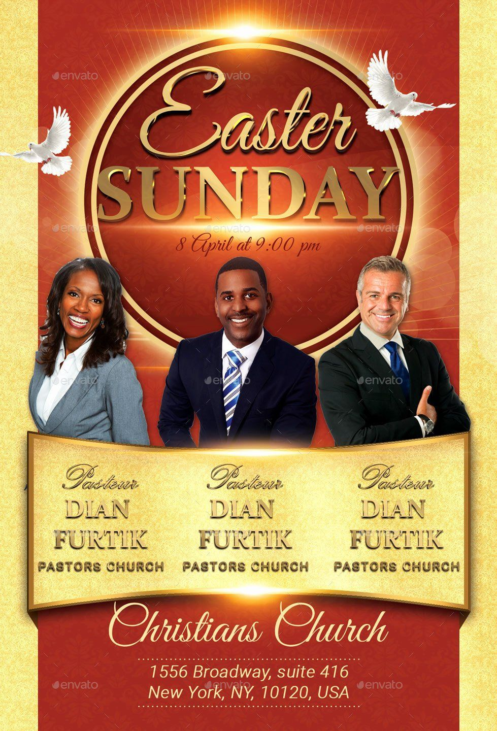 004 Striking Church Flyer Template Free Concept  Easter Anniversary Conference PsdFull