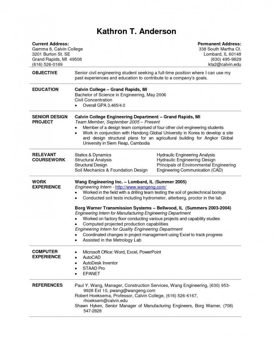Resume Format Engineering Students