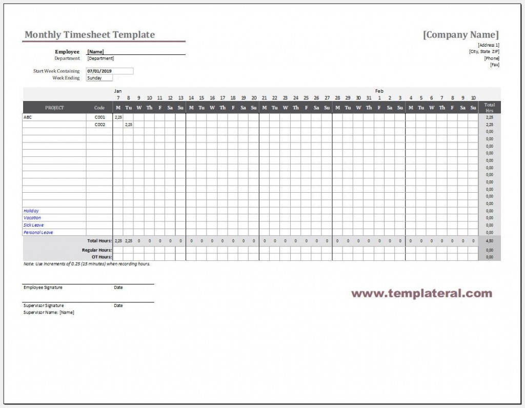 004 Striking Employee Monthly Time Card Template Photo Large