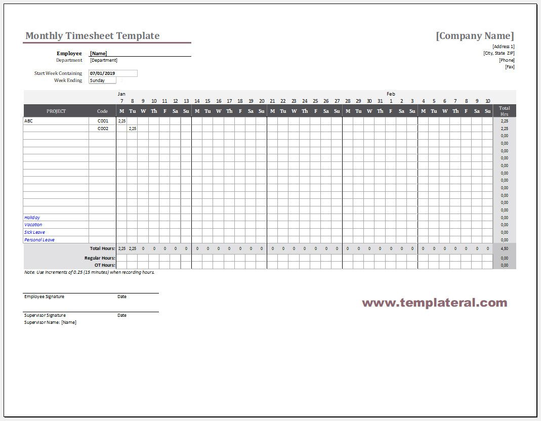 004 Striking Employee Monthly Time Card Template Photo Full