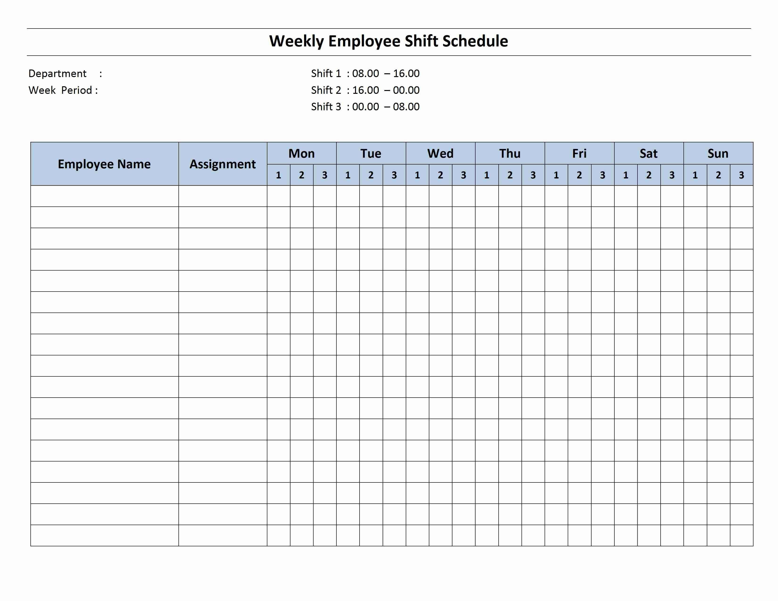 004 Striking Employee Schedule Template Free Image  Downloadable Weekly Work Training Excel ShiftFull