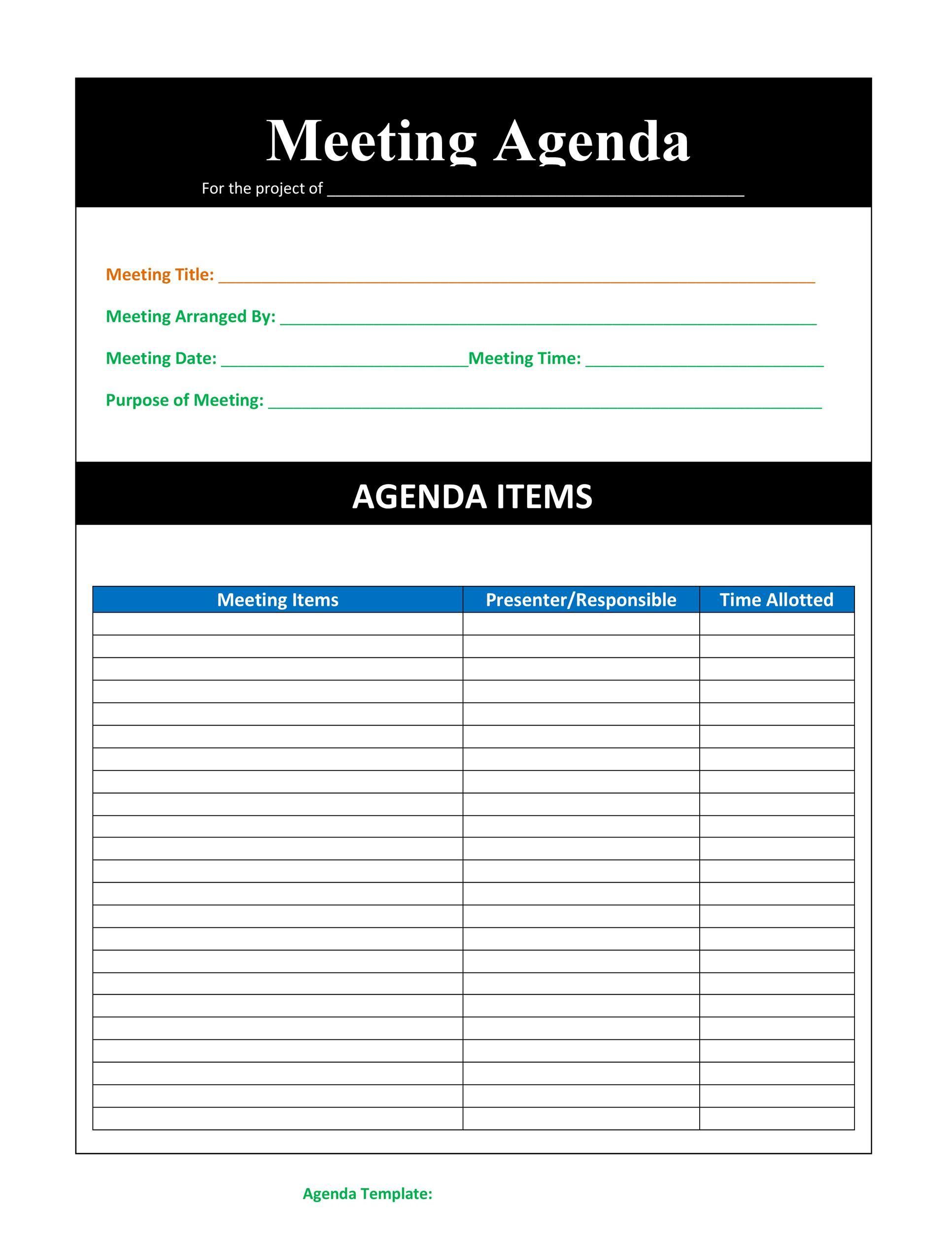 004 Striking Formal Meeting Agenda Template Excel Sample Full