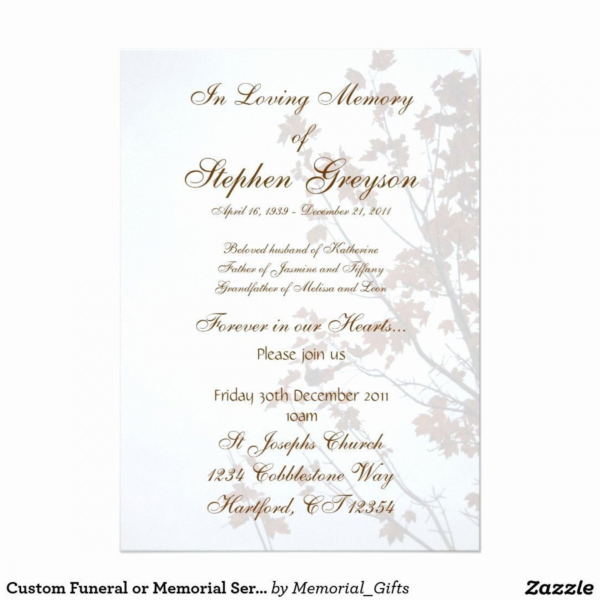 004 Striking Funeral Invitation Template Free High Def  Memorial Service Card Reception1920