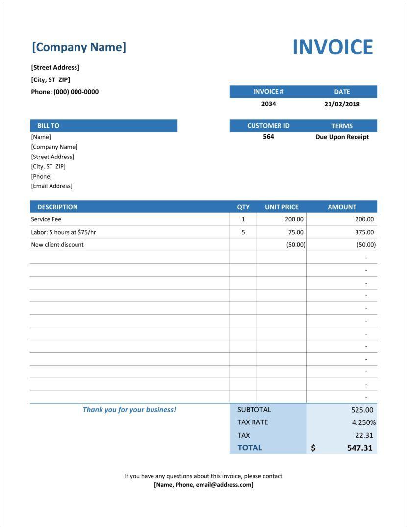 004 Striking Microsoft Excel Invoice Template Image  Gst Uk ProformaFull