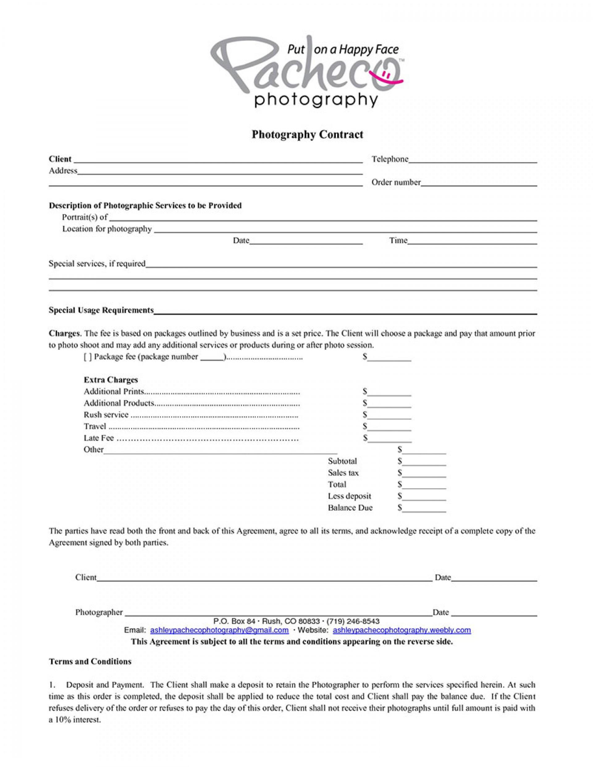 004 Striking Portrait Photography Contract Template Image  Pdf Australia1920