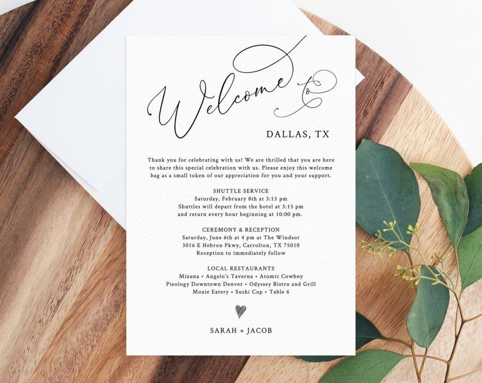 004 Striking Wedding Hotel Welcome Letter Template Photo 960