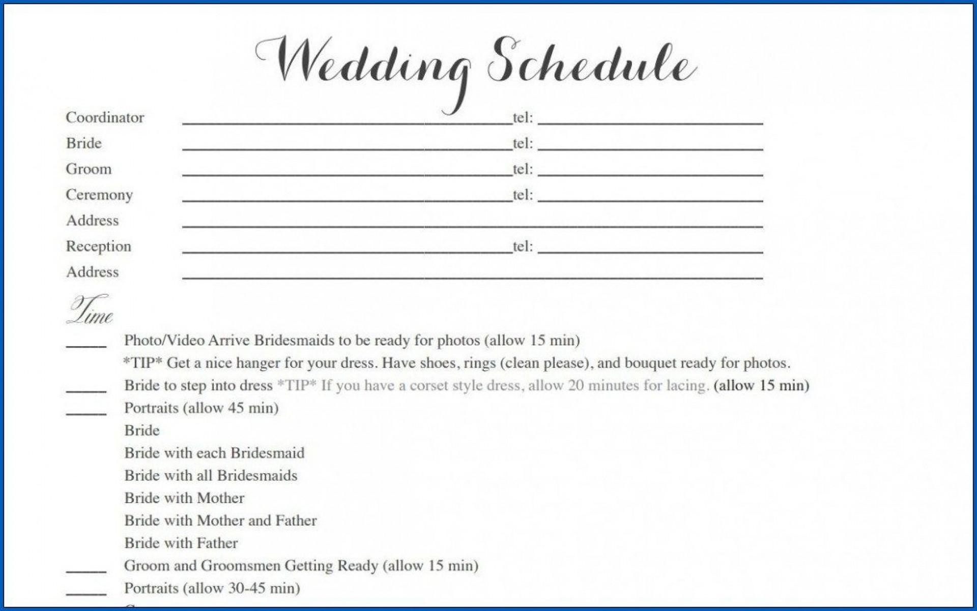 004 Striking Wedding Timeline Template Free Inspiration  Day Excel Program1920