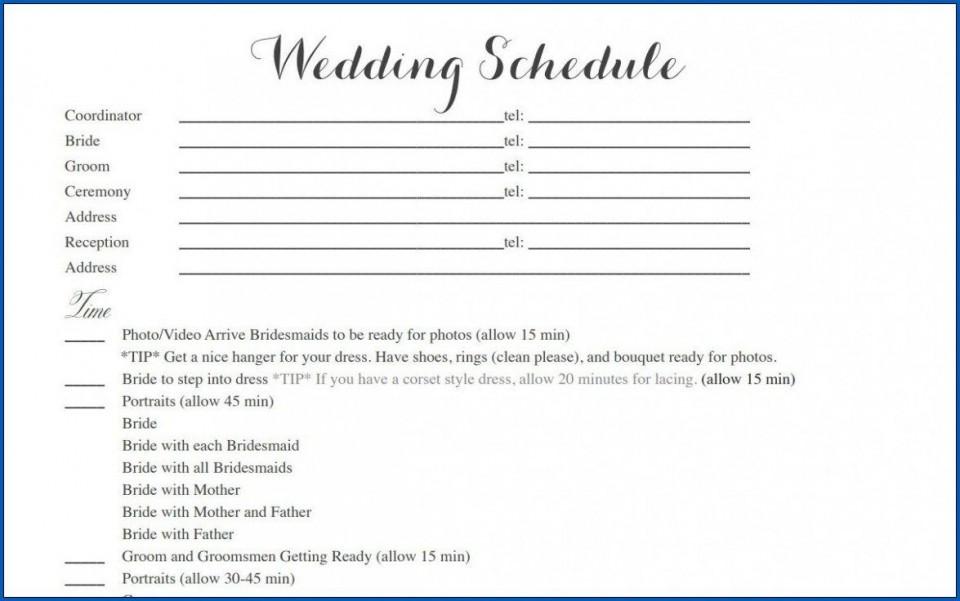 004 Striking Wedding Timeline Template Free Inspiration  Day Excel Program960