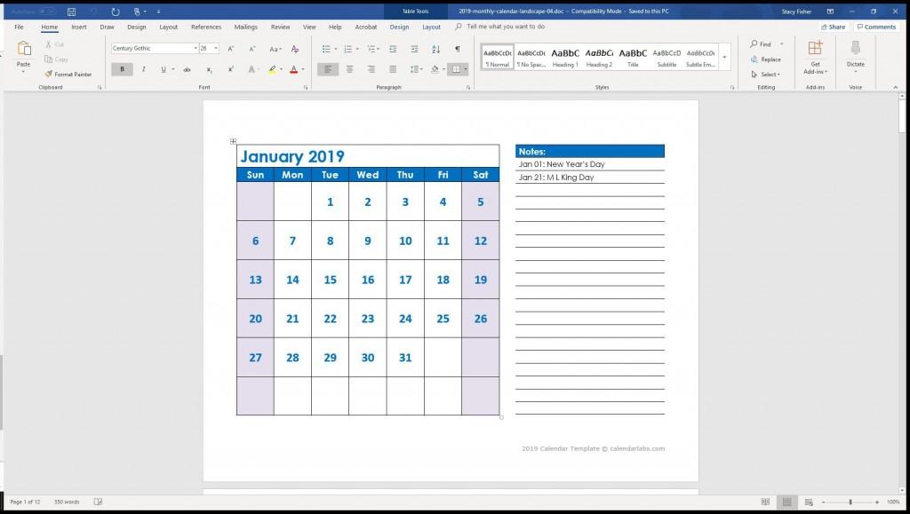 004 Stunning 2019 Calendar Template Word 2007 Inspiration Large