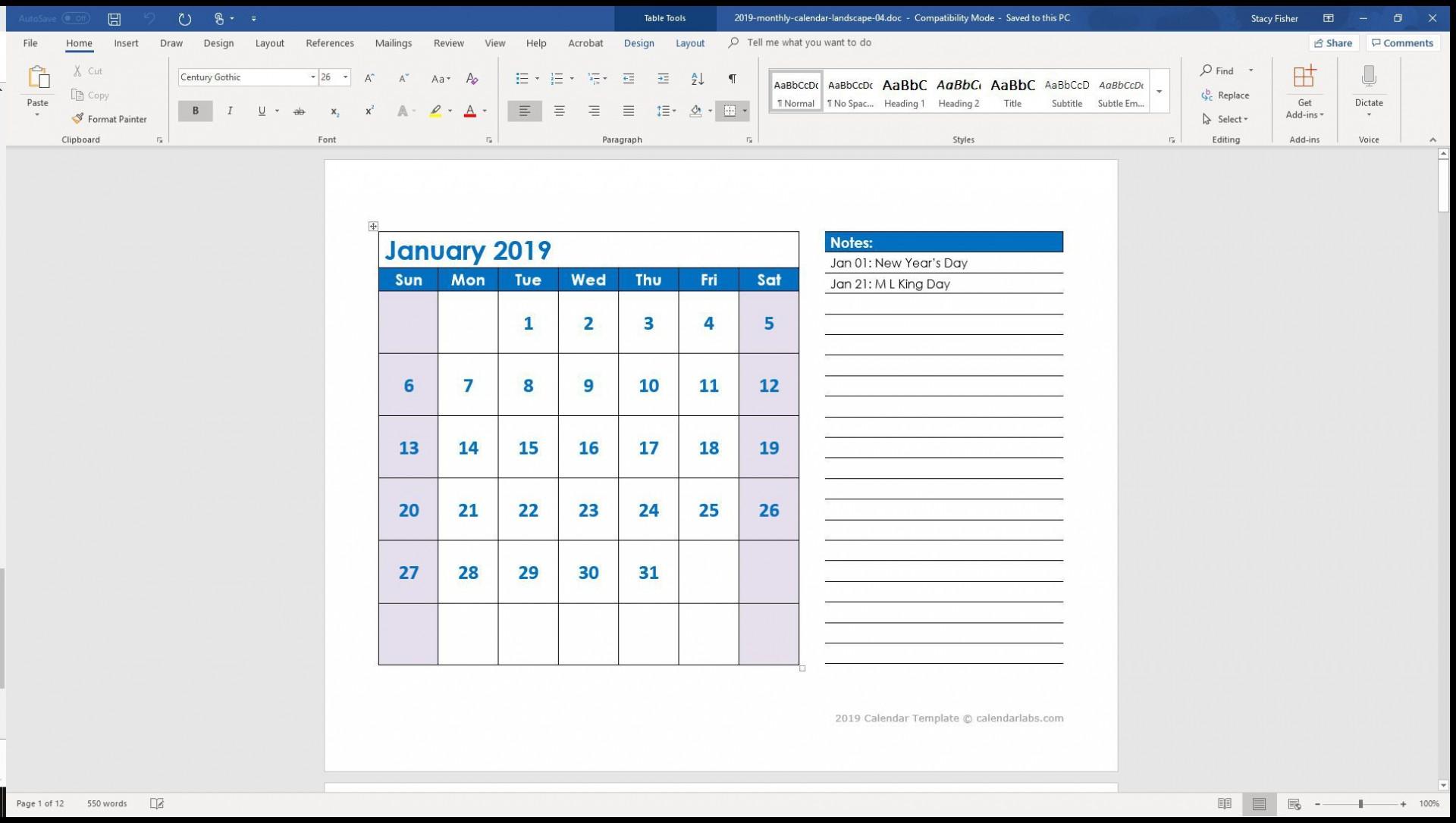 004 Stunning 2019 Calendar Template Word 2007 Inspiration 1920