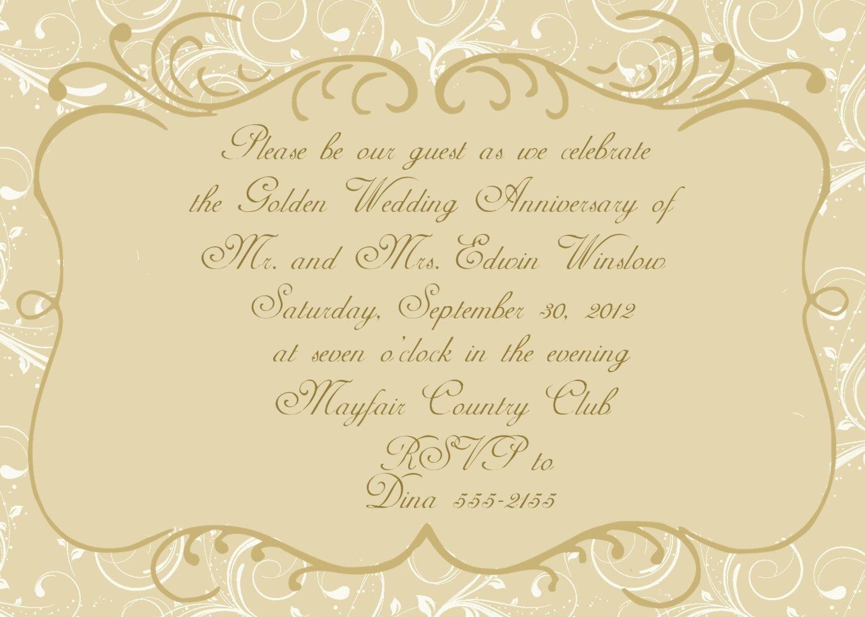 004 Stunning 50th Anniversary Invitation Card Template Inspiration  Templates FreeFull