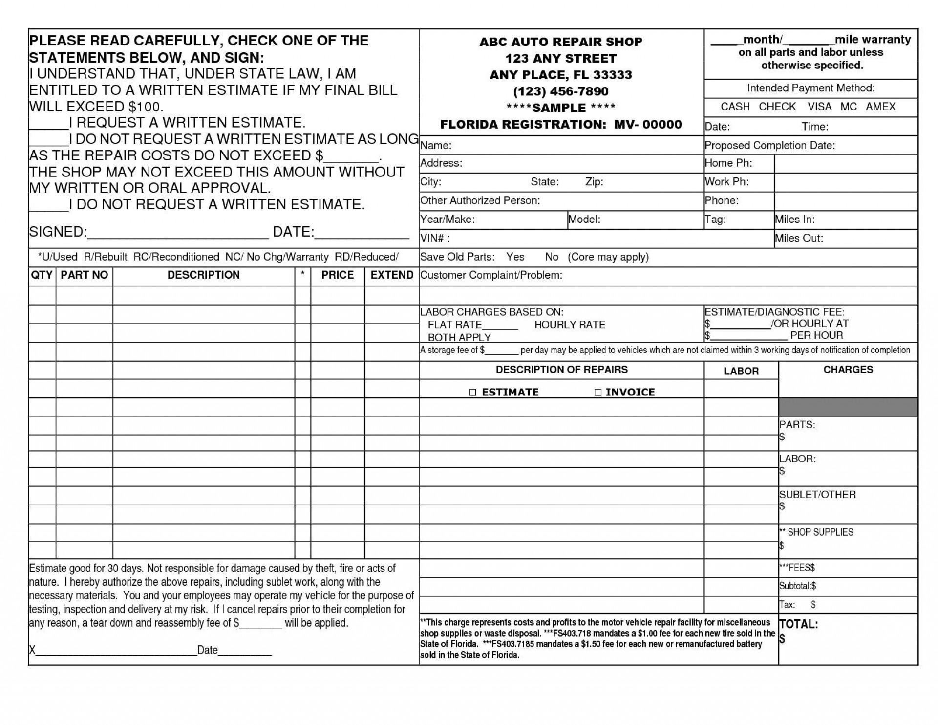 004 Stunning Auto Repair Invoice Template Pdf Idea  Free Form Receipt1920