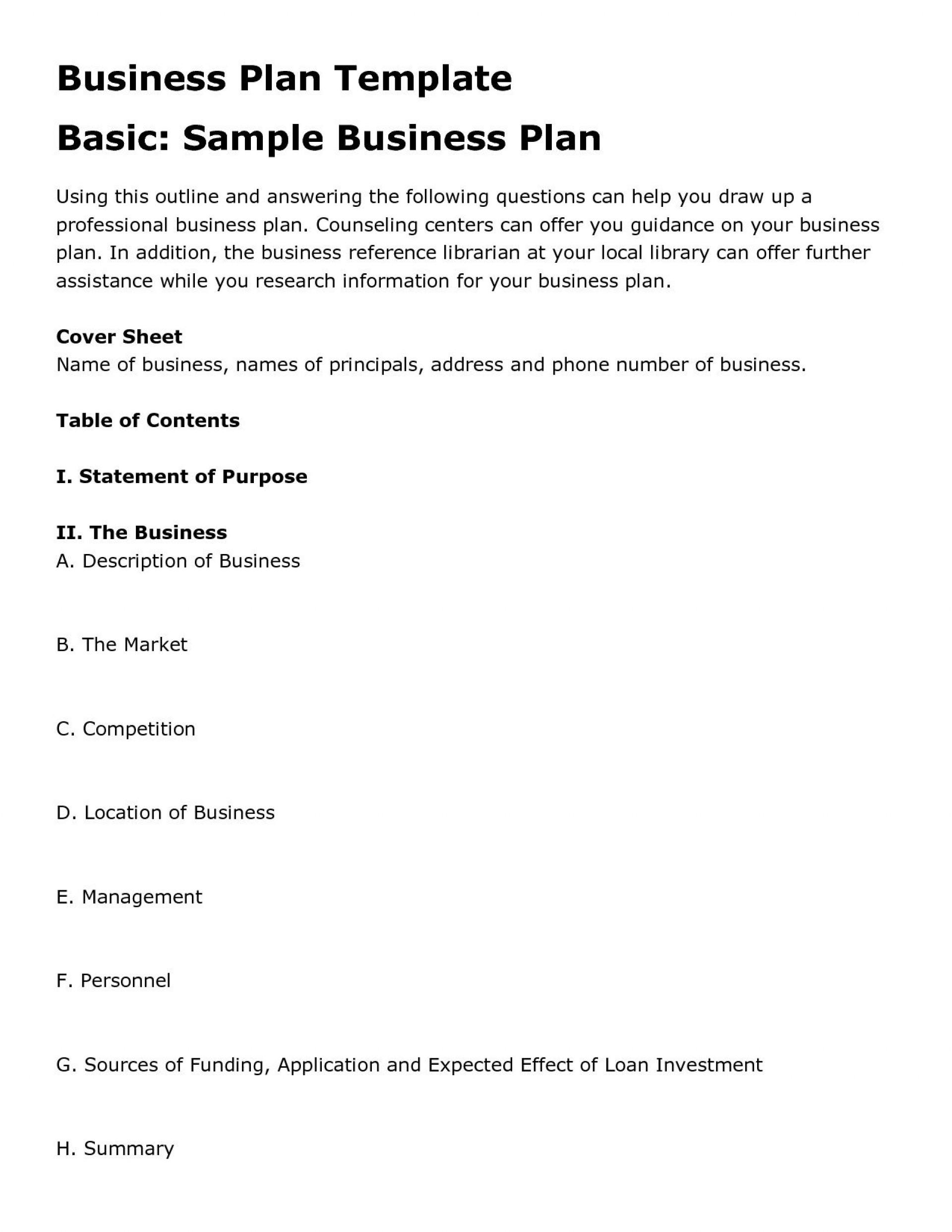 004 Stunning Basic Busines Plan Template Sample  Simple Word Download Easy Free Australia1920