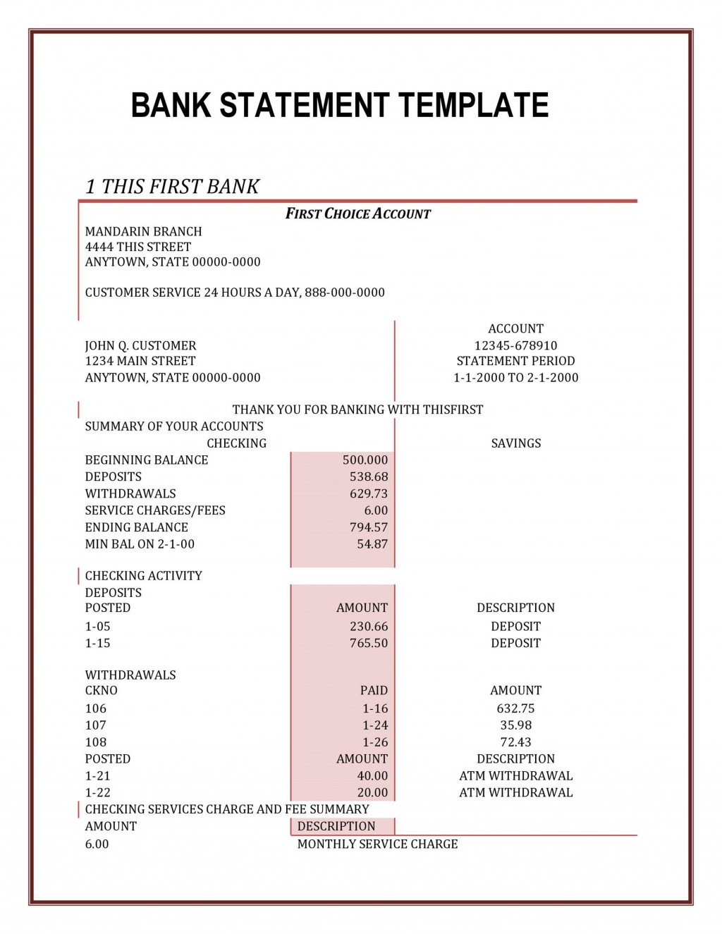 004 Stunning Chase Bank Statement Template Photo  Doc Free FakeLarge