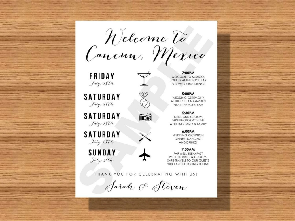 004 Stunning Destination Wedding Itinerary Template Highest Clarity  Welcome Letter And Sample FreeLarge