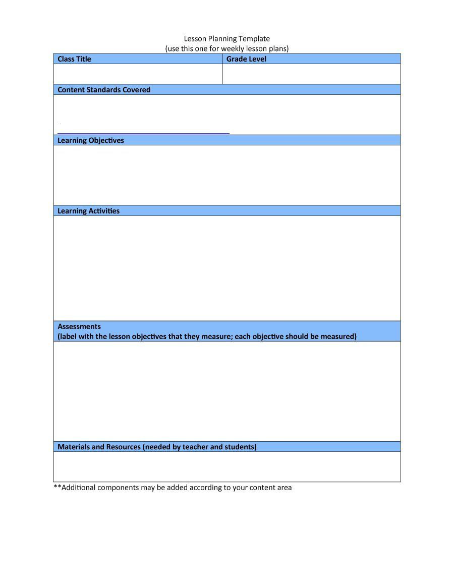 004 Stunning Downloadable Lesson Plan Template High Resolution  Printable Weekly Pdf Free WordFull