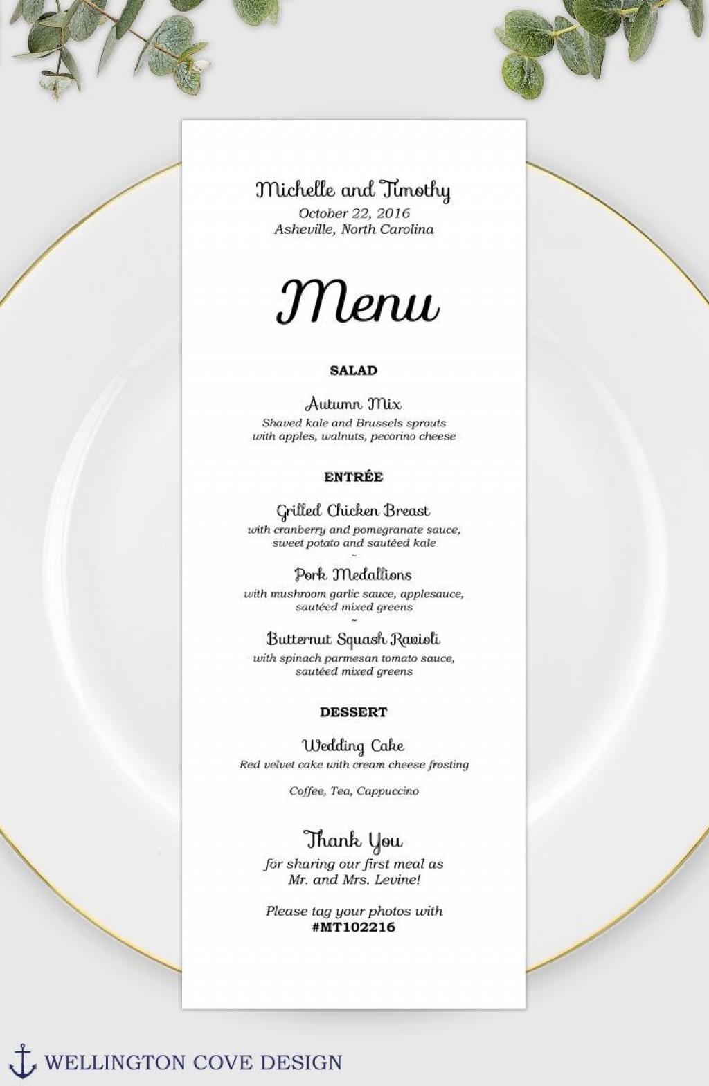 004 Stunning Wedding Menu Card Template Word Example Large