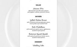 004 Stunning Wedding Menu Card Template Word Example