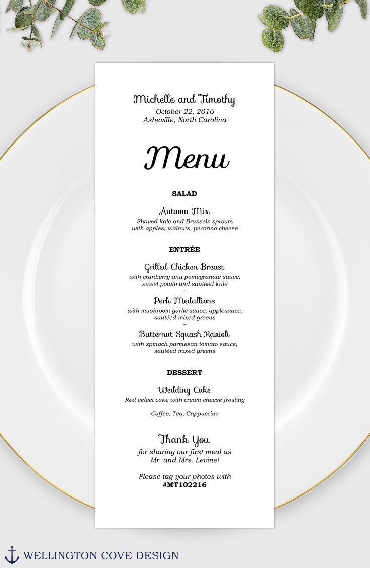 004 Stunning Wedding Menu Card Template Word Example Full